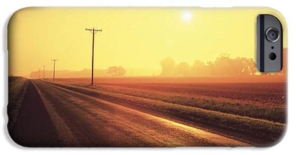 Crops iPhone Cases - Sunrise Road Maryland Usa iPhone Case by Panoramic Images