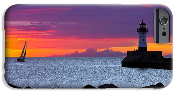 Duluth iPhone Cases - Sunrise Sailing iPhone Case by Mary Amerman