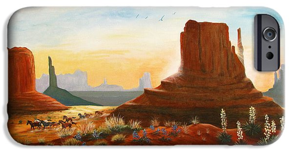 Marilyn Smith Paintings iPhone Cases - Sunrise Stampede iPhone Case by Marilyn Smith
