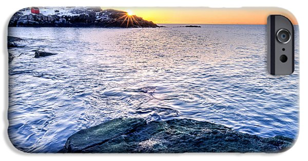 Cape Neddick Lighthouse iPhone Cases - Sunrise Starburst over Nubble Lighthouse  iPhone Case by Thomas Schoeller