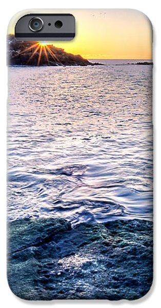 Sunrise Starburst over Nubble Lighthouse  iPhone Case by Thomas Schoeller