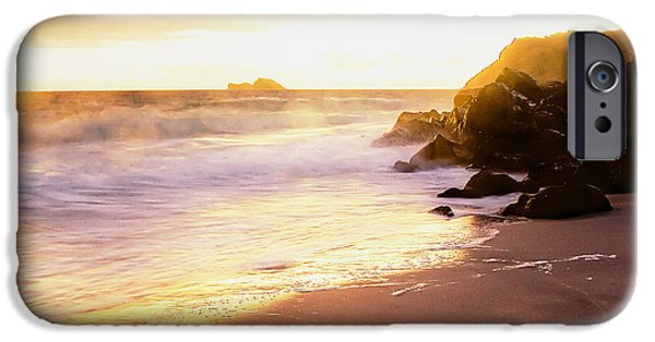 Fog Mist iPhone Cases - Sunrise Surf iPhone Case by Roger Chavers