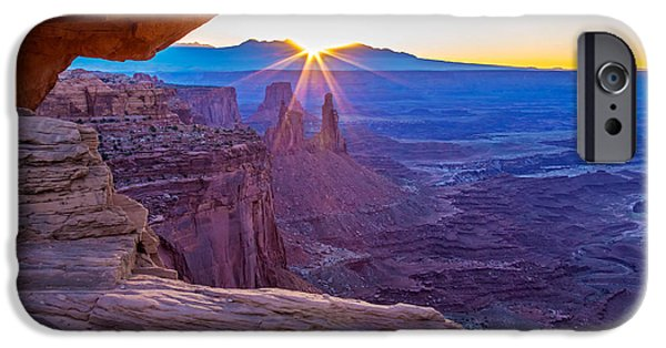 Slickrock iPhone Cases - Sunrise Through Mesa Arch iPhone Case by Nicholas Blackwell