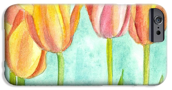 Flora Drawings iPhone Cases - Sunrise Tulips iPhone Case by Cathie Richardson