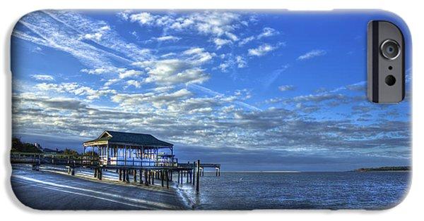 Tybee Island Pier iPhone Cases - Sunrise Tybee South Beach Low Tide Docks iPhone Case by Reid Callaway