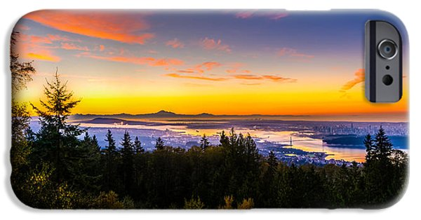 Stanley Park iPhone Cases - Sunrise Vancouver iPhone Case by Ian Stotesbury