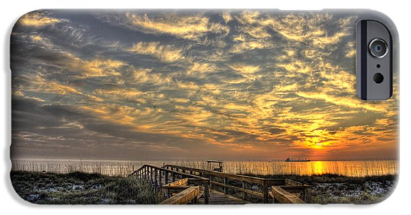 Tybee Island Pier iPhone Cases - Sunrise Walkway on Tybee Island iPhone Case by Reid Callaway