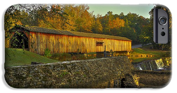 Grist Mill iPhone Cases - Autumn Sunrise Watson Mill Covered Bridge State Park iPhone Case by Reid Callaway
