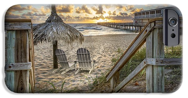 Adirondack Chairs On The Beach iPhone Cases - Sunrise Welcome iPhone Case by Debra and Dave Vanderlaan