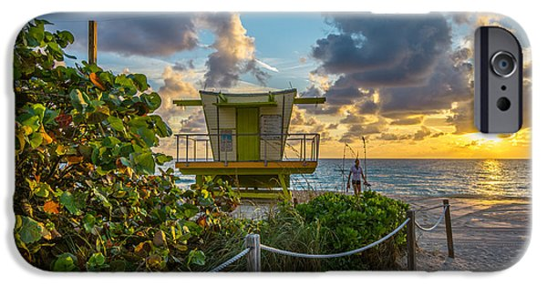 Ianmonk iPhone Cases - Sunrise Workout Return - Lifeguard Station - Miami Beach iPhone Case by Ian Monk