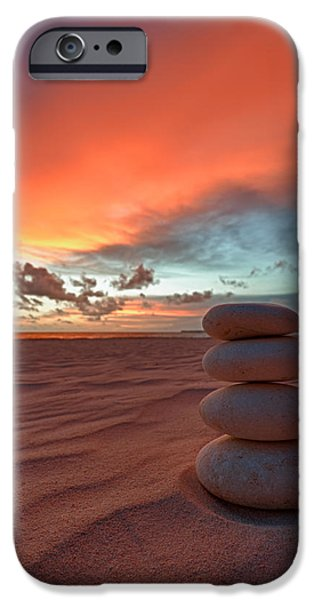 Pebbles iPhone Cases - Sunrise Zen iPhone Case by Sebastian Musial