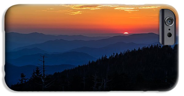 Hill iPhone Cases - Suns last peak over the Blue Ridge iPhone Case by Andres Leon