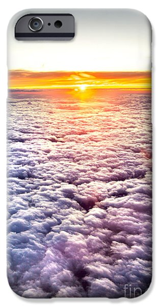 Nature Center iPhone Cases - Sunset Above The Clouds iPhone Case by Az Jackson