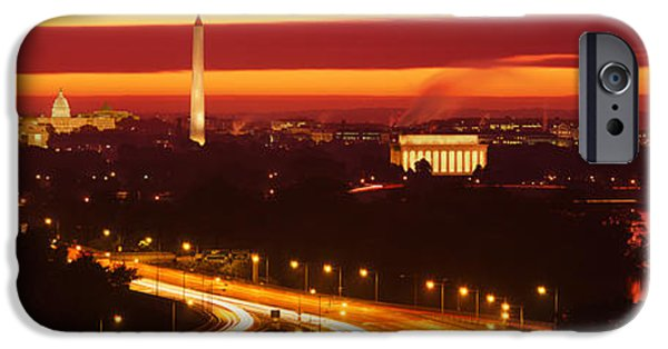 Fiery iPhone Cases - Sunset, Aerial, Washington Dc, District iPhone Case by Panoramic Images