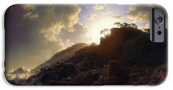 Sicily Paintings iPhone Cases - Sunset after a Storm on the Coast of Sicily iPhone Case by Celestial Images