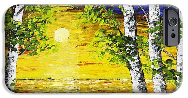 Birch Tree iPhone Cases - Sunset And Birch Trees Palette Knife Painting iPhone Case by Keith Webber Jr