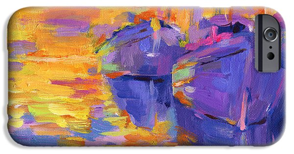 Mood Paintings iPhone Cases - Sunset and boats iPhone Case by Svetlana Novikova