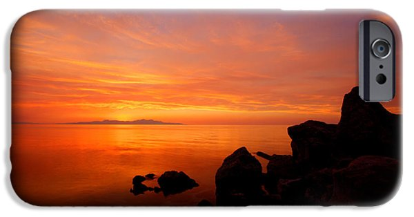 Sea iPhone Cases - Sunset and Fire iPhone Case by Chad Dutson