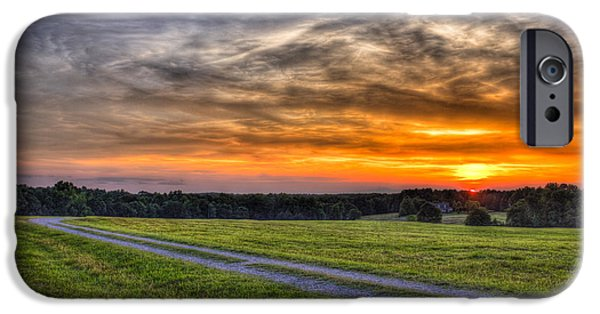 Pastureland iPhone Cases - Sunset and The Road Home iPhone Case by Reid Callaway