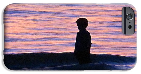 Child Digital iPhone Cases - Sunset Art - Contemplation iPhone Case by Sharon Cummings