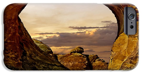 United iPhone Cases - Sunset at Arches National Park iPhone Case by  Bob and Nadine Johnston