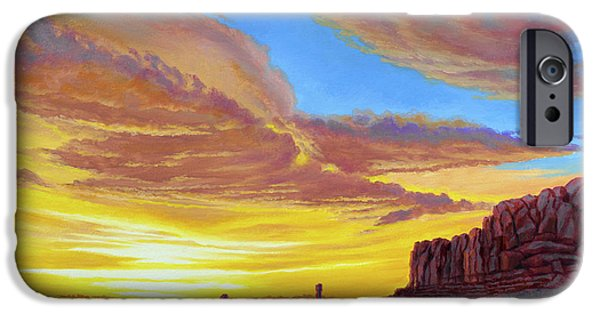National Park Paintings iPhone Cases - Sunset at Arches iPhone Case by Paul Krapf