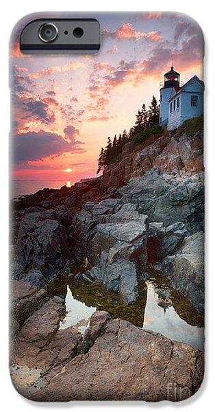 Maine iPhone Cases - Sunset at Bass Harbor Lighthouse iPhone Case by Jane Rix