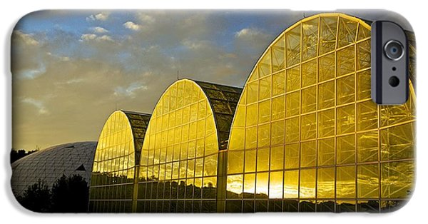 Nature Study iPhone Cases - Sunset at Biosphere2 iPhone Case by Barbara Zahno