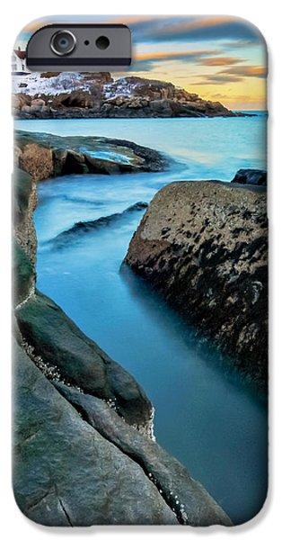 Sunset at Cape Neddick Light- Maine iPhone Case by Thomas Schoeller