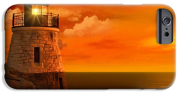 New England Lighthouse iPhone Cases - Sunset at Castle Hill iPhone Case by Lourry Legarde