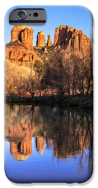 Oak Creek iPhone Cases - Sunset at Cathedral Rock in Sedona AZ iPhone Case by Teri Virbickis