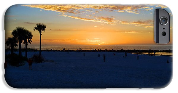 Pirate Ship iPhone Cases - Sunset at Clearwater Beach Florida iPhone Case by Michel Rathwell