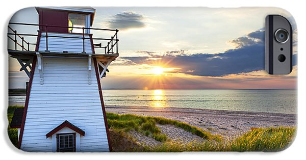 Province iPhone Cases - Sunset at Covehead Harbour Lighthouse iPhone Case by Elena Elisseeva