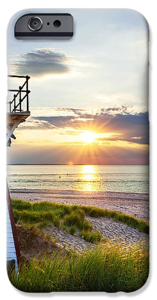 Sunset at Covehead Harbour Lighthouse iPhone Case by Elena Elisseeva