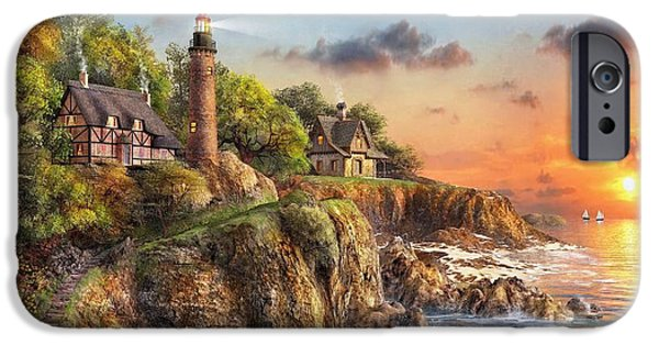New England Lighthouse iPhone Cases - Sunset at Craggy Point iPhone Case by MGL Meiklejohn Graphics Licensing