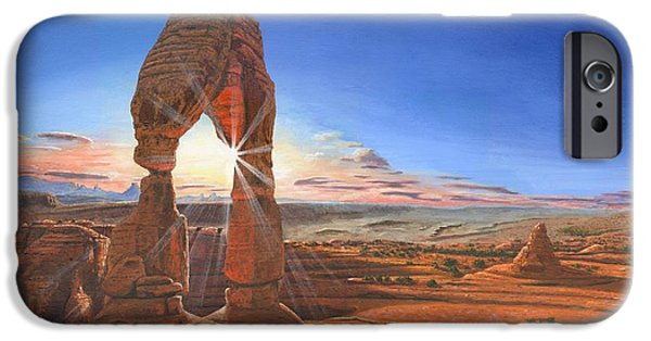 Delicate iPhone Cases - Sunset at Delicate Arch Utah iPhone Case by Richard Harpum