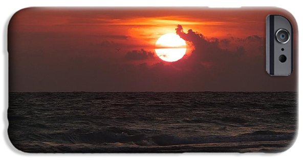 Florida Pyrography iPhone Cases - Sunset at Floridas Longboat Key iPhone Case by Alfred Stringer