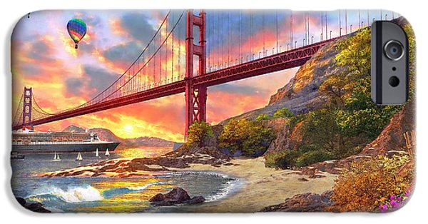 Architecture Digital iPhone Cases - Sunset at Golden Gate iPhone Case by Dominic Davison