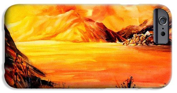 Switzerland Paintings iPhone Cases - Sunset at Grimsel Pass in the Swiss Alps iPhone Case by Ryan Fox