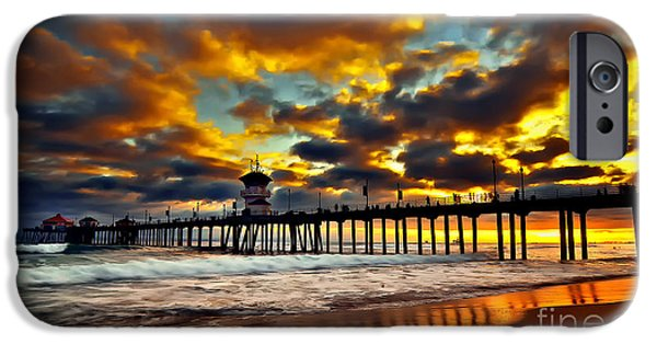 Ocean Pyrography iPhone Cases - Sunset at Huntington Beach Pier iPhone Case by Peter Dang