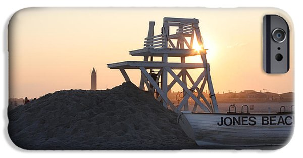 York Beach iPhone Cases - Sunset at Jones Beach iPhone Case by John Telfer