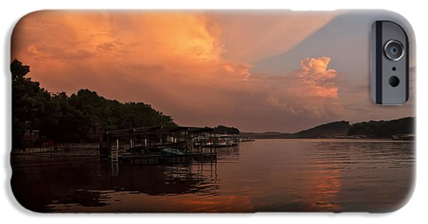 Ruin iPhone Cases - Sunset at Lake of the Ozarks iPhone Case by Dennis Hedberg