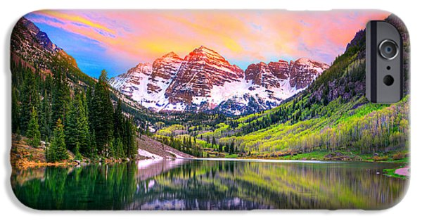 Recently Sold -  - Forest iPhone Cases - Sunset at Maroon Bells and Maroon Lake Aspen CO iPhone Case by James O Thompson