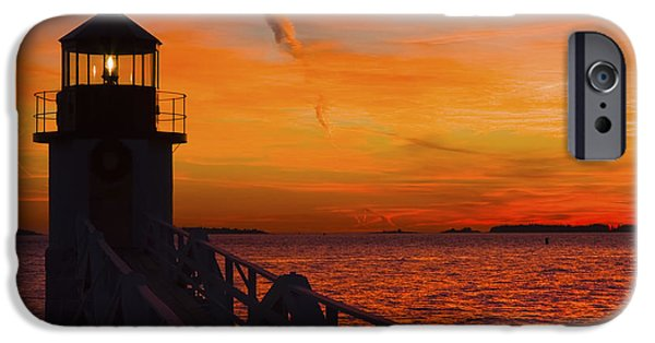New England Lighthouse iPhone Cases - Sunset At Marshall Point Lighthouse At Sunset Maine iPhone Case by Keith Webber Jr