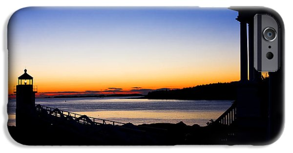 Ocean Sunset iPhone Cases - Sunset At Marshall Point Lighthouse in Maine iPhone Case by Keith Webber Jr