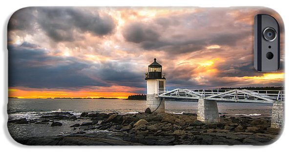 Mid-coast Maine iPhone Cases - Sunset at Marshall Point iPhone Case by Scott Thorp