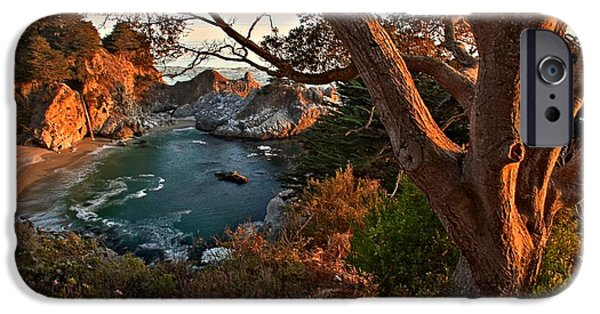 Big Sur Ca iPhone Cases - Sunset At McWay Falls iPhone Case by Adam Jewell