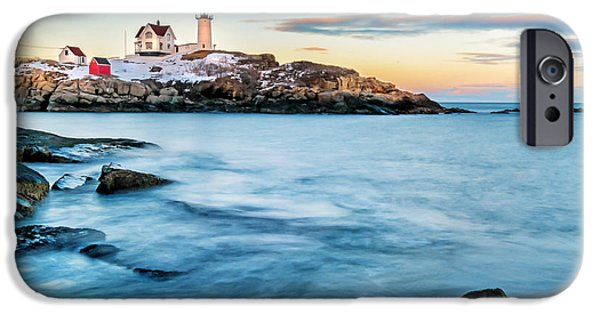 Gulf Of Maine iPhone Cases - Sunset at Nubble Light-Cape Neddick Maine iPhone Case by Thomas Schoeller