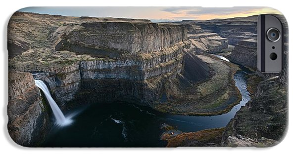 Franklin iPhone Cases - Sunset at Palouse Falls iPhone Case by Rachel Cash