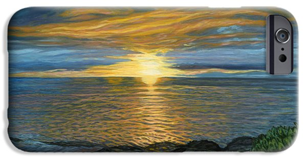 Michael Paintings iPhone Cases - Sunset at Paradise Cove iPhone Case by Michael Allen Wolfe